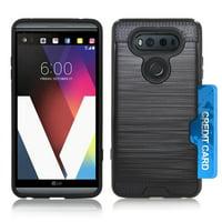 LG V20 / US996 Slim PC Metal Brushed Protective Credit Card Slot Black