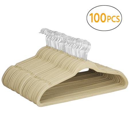 Yaheetech Velvet Hangers Heavy Duty - Non Slip -Space Saving Clothes Hangers, Pack of 100,Gray
