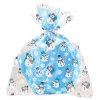 Large Snowman Holiday Cellophane Bags, 4ct