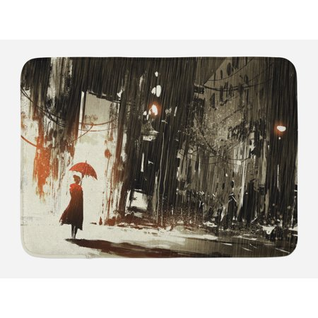 Fantasy Bath Mat, Woman with Umbrella in Rain Old Town Ruins Apocalypse Superhero Action Desgin, Non-Slip Plush Mat Bathroom Kitchen Laundry Room Decor, 29.5 X 17.5 Inches, Army Green Beige, Ambesonne