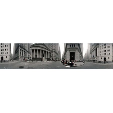 360 degree view of buildings Wall Street Manhattan New York City New York State USA Stretched Canvas - Panoramic Images (40 x