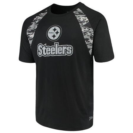 Mens Black Camo (Men's Zubaz Black Pittsburgh Steelers Camo Raglan)