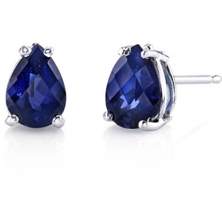 2.00 Carat T.G.W. Pear-Cut Created Blue Sapphire 14kt White Gold Stud Earrings