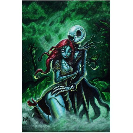 Jack & Sally Fine Art Print by Joey Rotten Skellington Halloween Nightmare