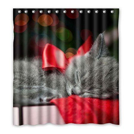EREHome Playing Sleeping Black Cats Shower Curtain Polyester Fabric Bathroom Decorative Curtain Size 66x72 Inches - image 1 of 1