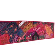 Mogul Vintage Boho Chic Table Runner Pink Patchwork Embroidery Table Decoration 60x20