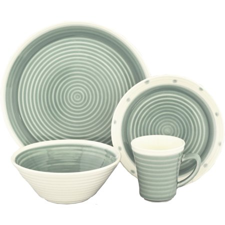 Sango Rico Aqua 16 Piece Set, Including 4 Dinner Plates, 4 Salad Plates, 4 Soup Bowls, and 4 Mugs