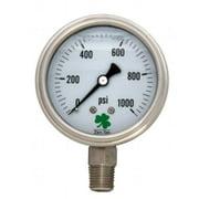 Zenport SSLPG1000 0-1000 Psi Liquid-Filled Pressure Gauge Stainless Steel