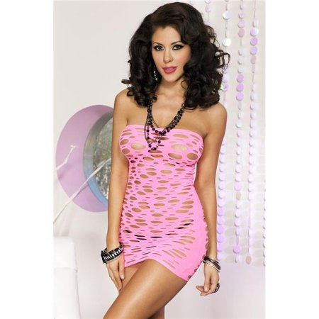 Music Legs 6157-HOTPINK Strapless Opaque Spandex Cut Out Dress - Hot Pink - image 1 of 1