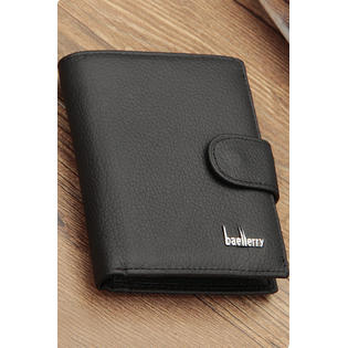 Men's Lychee Pattern Leather Wallet Black