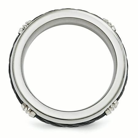 Edward Mirell Titanium & Cable Polished 7mm Band Size 7.5 - image 2 of 4