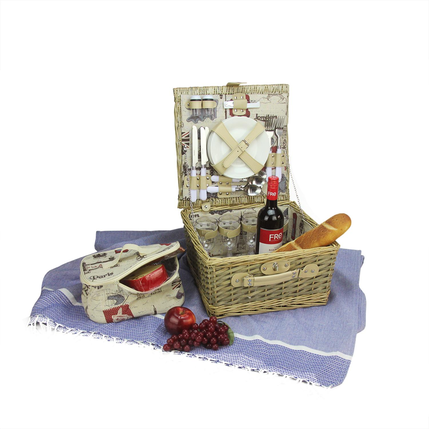 Northlight 4-Person Hand Woven Warm Gray And Natural I Love Paris Willow Picnic Basket Set With Accessories