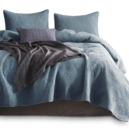 KASENTEX Stone Washed Quilted Coverlet Set-100% Cotton-Ultra Soft Bedspread-Traditional Country Chic Floral Embroidery Patterned (Chambray Blue, Queen) ()