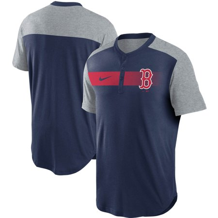 Boston Red Sox Nike Fade Performance Tri-Blend Henley T-Shirt - Navy