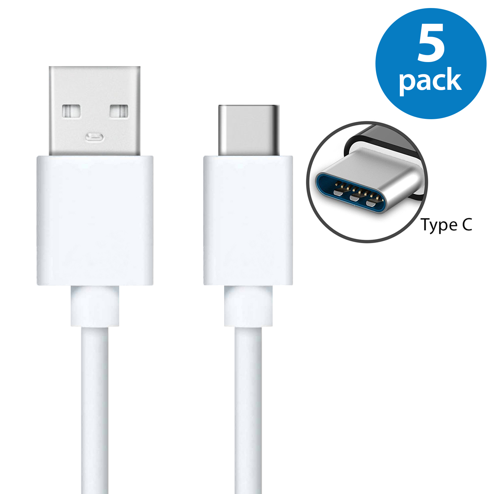 5x USB Type C Fast Charging Cable 6FT USB-C Type-C 3.1 Data Sync Charger Cable Cord For Samsung Galaxy S8 S8+ Note 8 Nexus 5X 6P OnePlus 2 3 5 LG G5 G6 V20 HTC 10 Google Pixel XL White