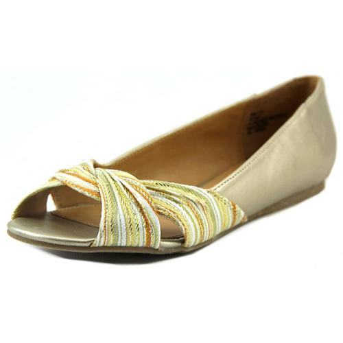 New Directions Hillary Women US 8.5 Gold Peep Toe Flats