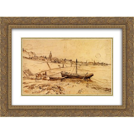(Vincent van Gogh 2x Matted 24x18 Gold Ornate Framed Art Print 'Bank of the Rhone at Arles')