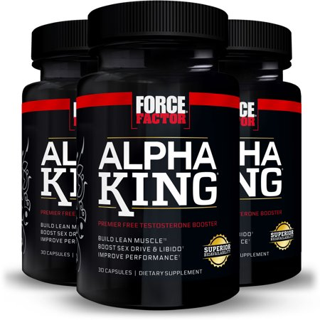 (3 pack) Force Factor Alpha King Free Testosterone Booster Featuring AlphaFen, 30 (Best Testosterone Booster On The Market 2019)