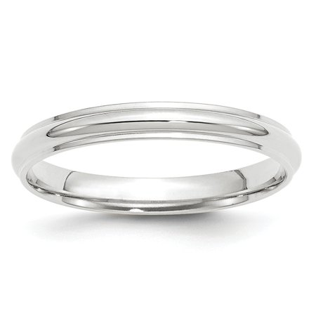 Roy Rose Jewelry 14K White Gold 3mm Half Round with Edge Wedding Band Ring Size 9