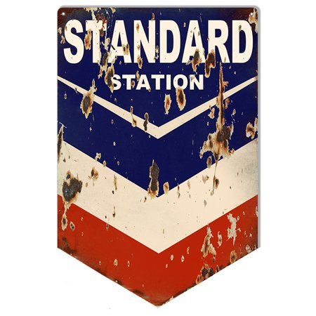 Aged Looking Standard Chevron Motor Oil Sign. 12