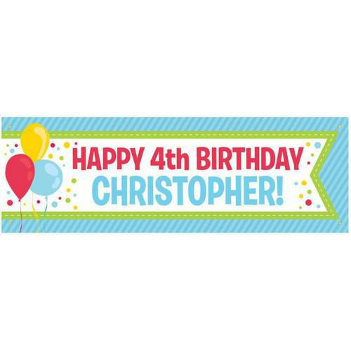 Personalized Birthday Banner, Primary Colors