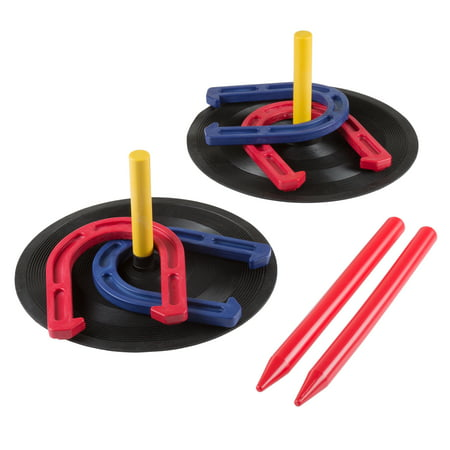 Rubber Horseshoes Game Set for Outdoor and Indoor Games - Perfect for Tailgating, Camping, Backyard by Hey! Play! - Gold Mens Horseshoe