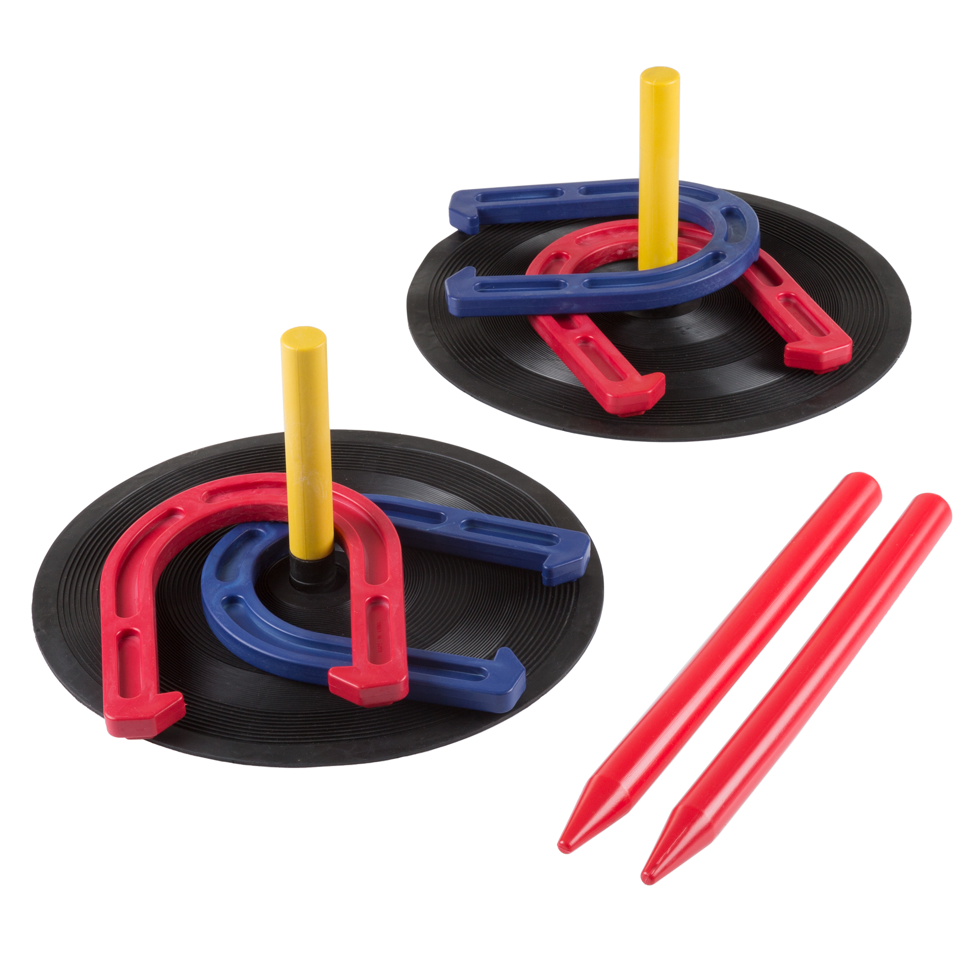 Rubber Horseshoes Game Set for Outdoor and Indoor Games - Perfect for Tailgating, Camping, Backyard by Hey! Play!