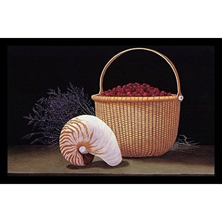 Nantucket Harvest - buyartforless FRAMED Nantucket Harvest by Robert Duff 24x17 Art Print Poster Still Life Painting Conch Shell Cranberry Basket and Purple Fowers