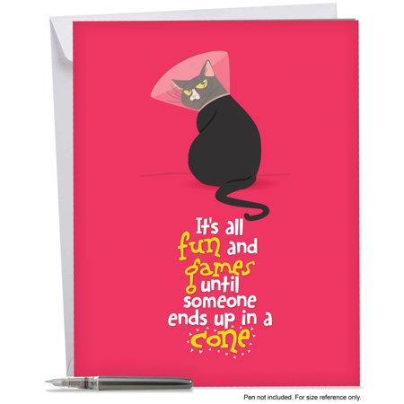 J6558bgwg large get well card cattys featuring a spunky feline j6558bgwg large get well card cattys featuring a spunky feline wearing a cone m4hsunfo