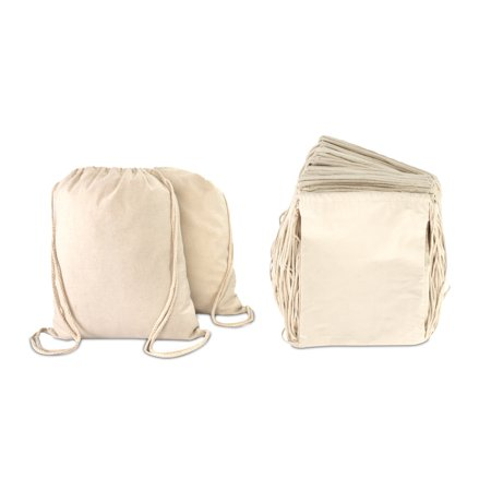 DALIX Canvas Drawstring Bag String Backpack Mens Womens Bulk Natural 12 Pack (Drawstring Backpack Bulk)
