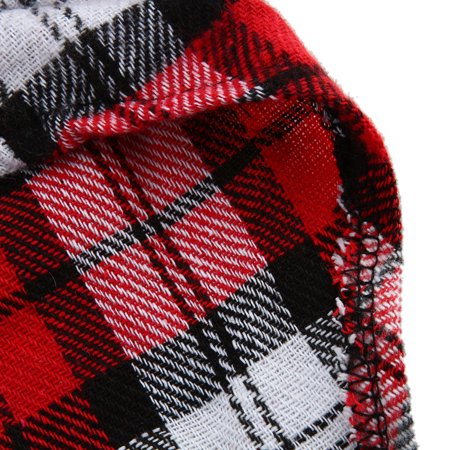 Greensen Material: cotton,New Small Pet Dog Puppy Plaid T Shirt Lapel Coat Cat Jacket Clothes Costume Red M - image 5 of 7