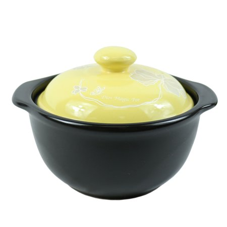 The Elixir Eco Green Stovetop Ceramic Stew Pot Hot Pot Clay Pots with Color Lid Stockpot Cookware, 1 QT Flame Top Stew Pot