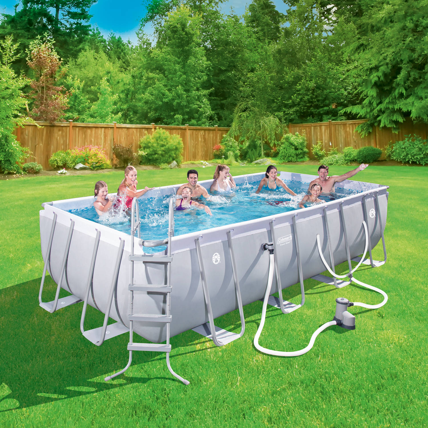 "Rectangle Pool coleman power steel 18' x 9' x 48"" rectangular frame swimming pool"