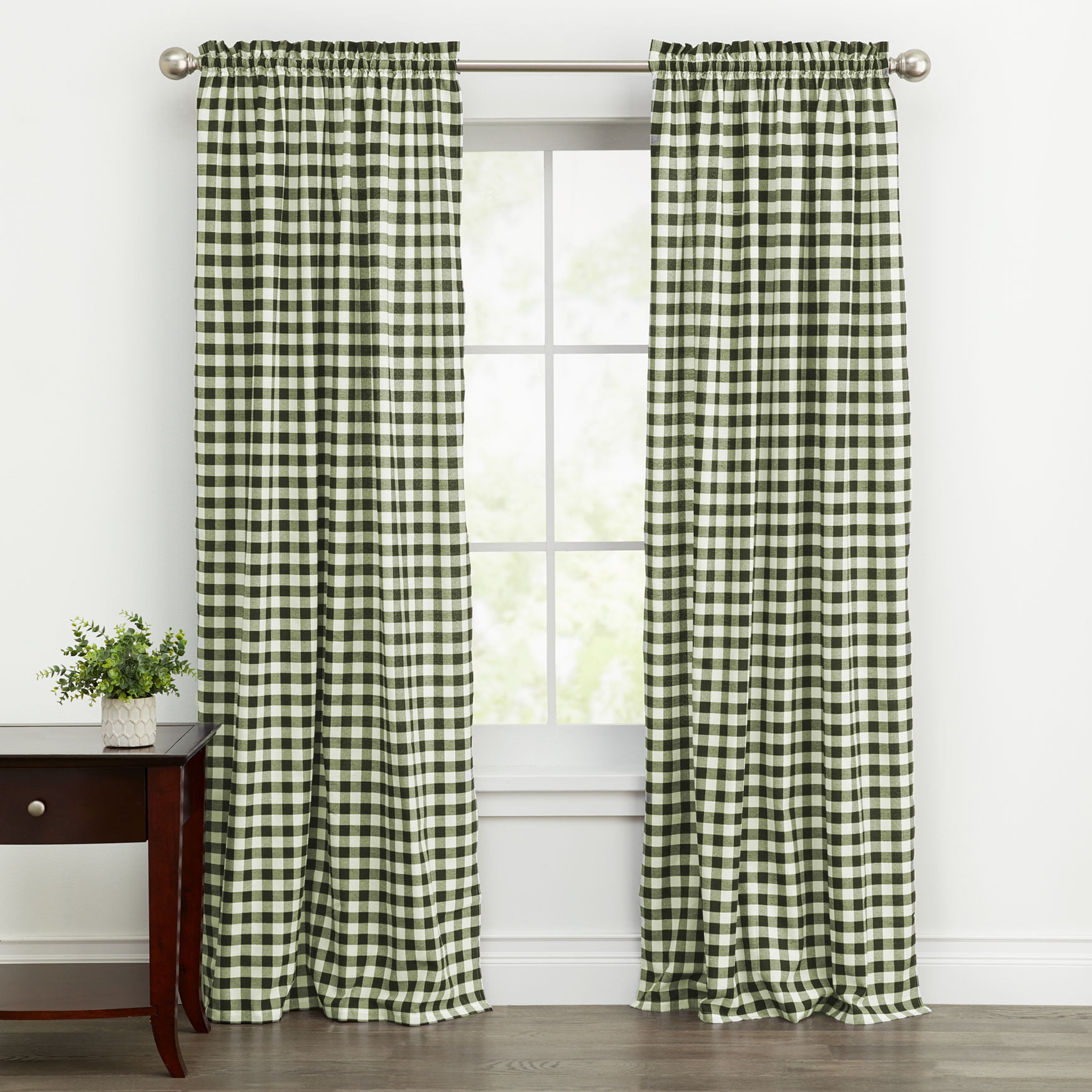 Woven Trends Farmhouse Curtains Kitchen Decor Buffalo Plaid Curtains Classic Country Plaid Gingham Checkered Design Farmhouse Decor Single Window Panel Walmart Com Walmart Com