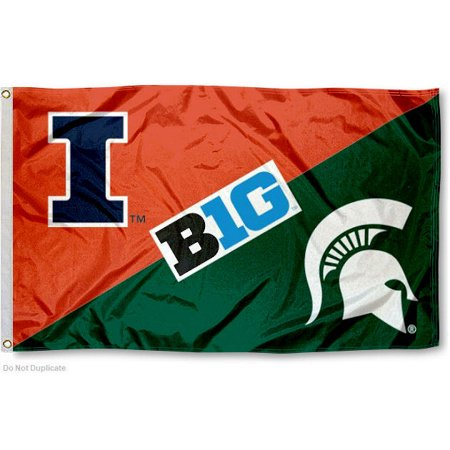 NCAA Illinois vs. Michigan State House Divided 3x5 Flag