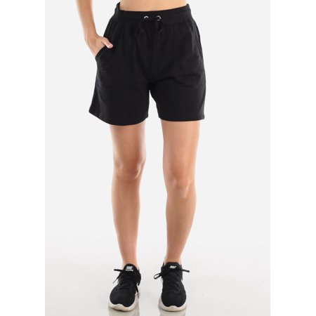 Columbia Hiking Shorts (Womens Juniors Casual Basic Everyday Hiking Workout Gym High Waist Drawstring Waist Activewear Fleece Solid Black Bermuda Shorts 40288X )