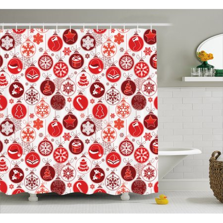 Christmas Shower Curtain Classical Themed Old Fashioned Celebration Carols Winter Season Design Patterns Fabric