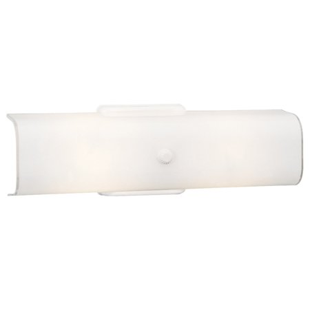 Design House 501452 Two-Light Wall Mounted White Glass Light, Damp Rated, White