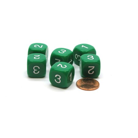 Pack of 6 16mm Round Opaque Numbered 1 to 3 Twice Dice - - Three Man Dice