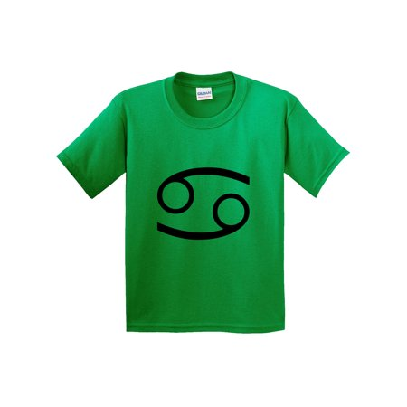 Trendy USA 951 - Youth T-Shirt Cancer Symbol Zodiac Sign The Crab Small Kelly Green