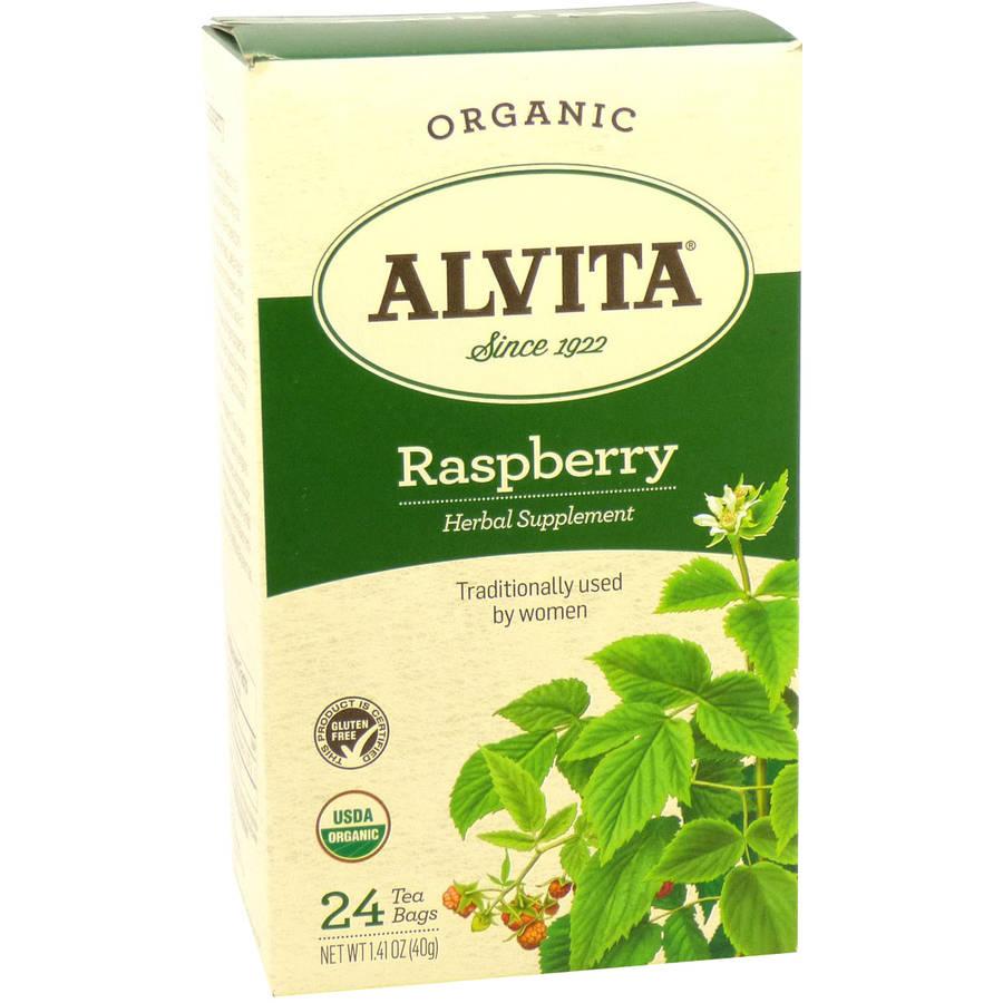 Alvita Organic Raspberry Herbal Supplement Tea, 24 count, 1.41 oz, (Pack of 3)