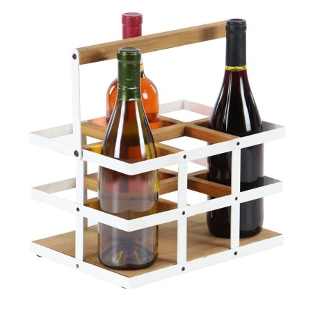 Decmode Modern 6 Bottle Wood And Metal Wine Holder White Walmartcom