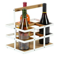 Decmode Modern 6-Bottle Wood And Metal Wine Holder, White