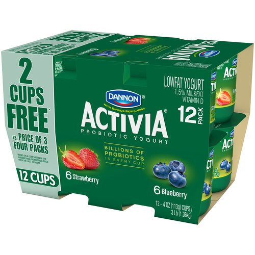 Dannon Activia Blueberry/Strawberry Lowfat Yogurt, 4 oz, 12 count