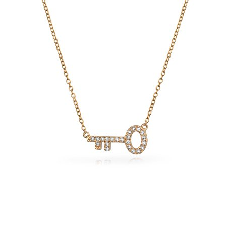 Minimalist Cubic Zirconia Pave CZ Sideways Key Pendant Necklace For Women For Teen Rose Gold Plated 925 Sterling (Cubic Zirconia Key Necklace)