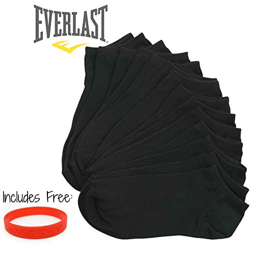 Everlast Men's No Show Athletic Ankle Socks (Pack of 7,14 or 21 pairs) (14- pack, A- Black)