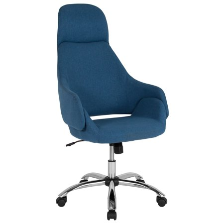 Enjoyable Marbella Flash Furniture Home And Office Upholstered High Back Chair With Wrap Style Arms And Headrest In Blue Fabric Dailytribune Chair Design For Home Dailytribuneorg
