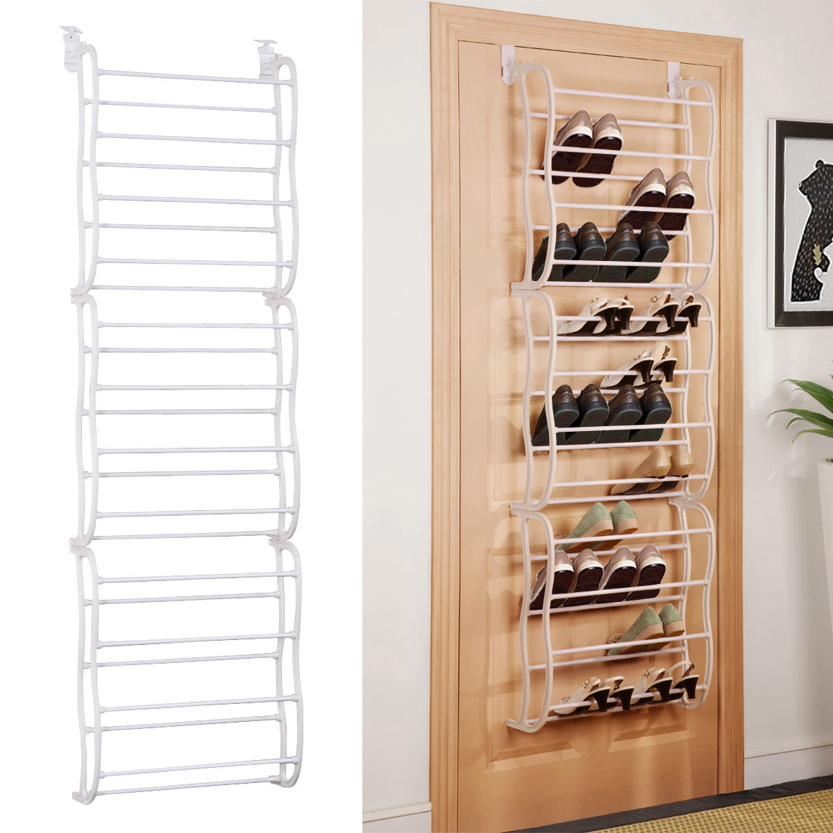Costway White 36Pair Over The Door Shoe Rack Wall Hanging Closet Organizer  Storage Stand