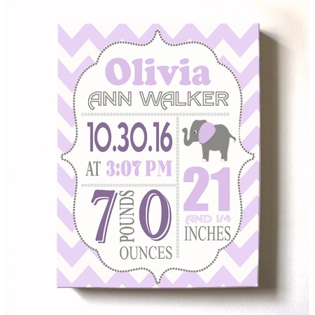 Personalized Canvas Birth Announcement Nursery Decor Gift, Elephant Design, Custom Name, Date, Weight & Length, Unique Boys & Girls Baby Shower Wall Art Presents, Color Lilac # 1 , Size - 8X10