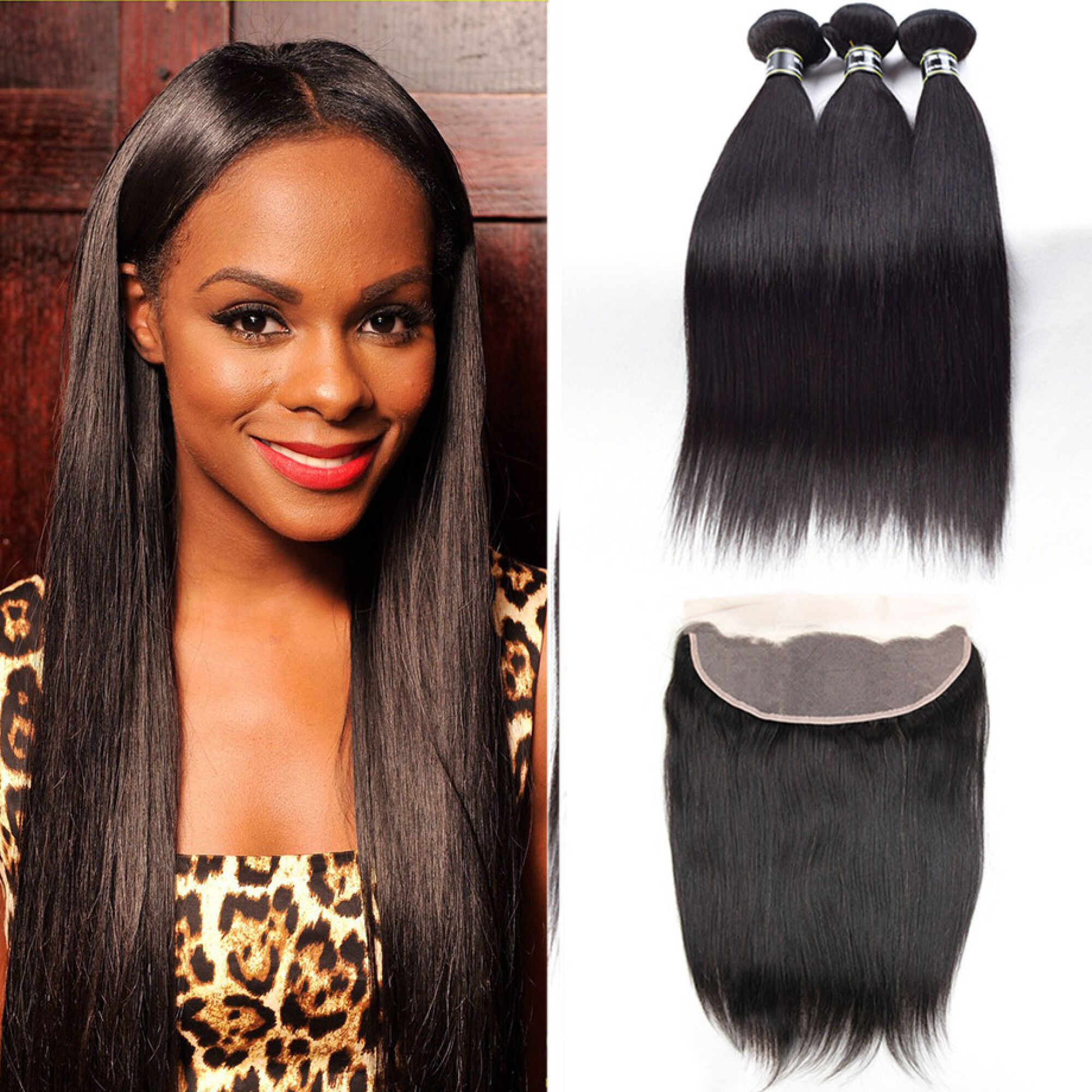 """Amazing Star Peruvian Virgin Straight Hair Bundles with Closure Free Part Human Hair Weave, 16""""18""""20"""" with 14"""""""